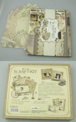 Комплект материали за декорация и албум 10 листа 22.5x26 см винтидж