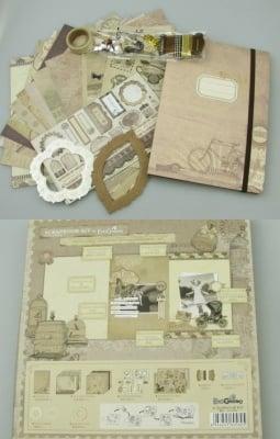 Комплект материали за декорация и албум 15 страници 15.5x22 см винтидж