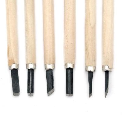 Комплект резци за дърворезба с дървена дръжка 6 броя