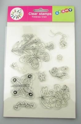 Силиконов печат 15x18 см цветя и пеперуди