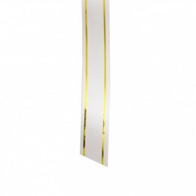 Лента панделка 17 мм бяла със злато -7 метра