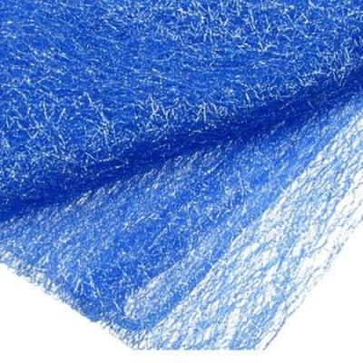 Мрежа тип паяжина със сребърна нишка 80x170 см синя