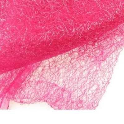Мрежа тип паяжина със сребърна нишка 80x170 см розова