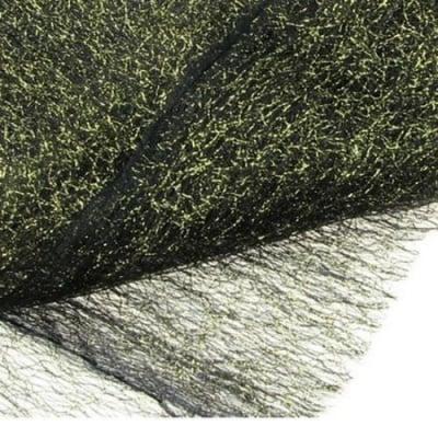 Мрежа тип паяжина със златна нишка 80x170 см черна