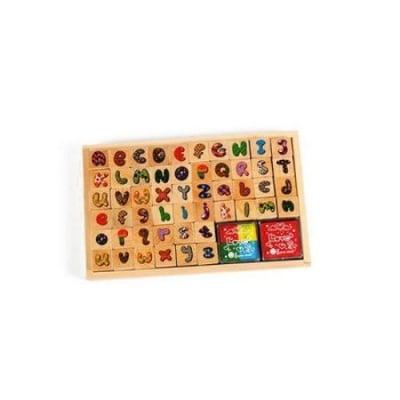 Комплект дървени печати 52 броя 20x20 мм с 5 цвята тампони с мастило -4 цвята 17x17 мм и 1 цвят 34x34 мм