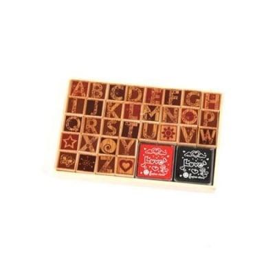 Комплект дървени печати главни букви 34 броя 20x20 мм с 2 цвята тампони с мастило 34x34 мм