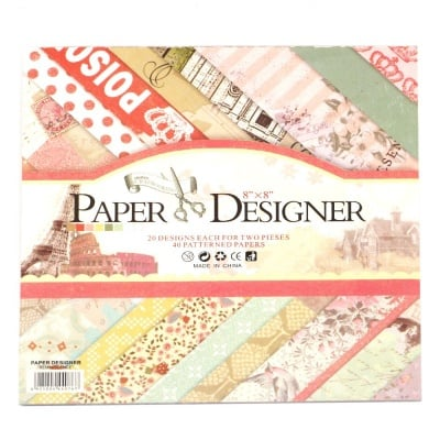 Дизайнерска хартия за скрапбукинг 8 inch (20.3x20.3 см) 20 дизайна x 2 листа