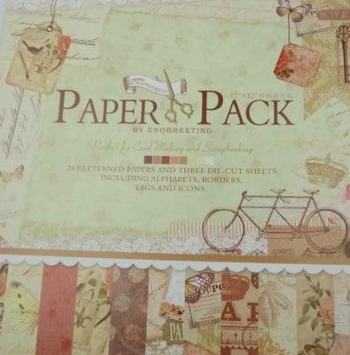 Комплект дизайнерска хартия за скрапбукинг 12 inch (30.5x30.5 см) 12 дизайна x 2 листа и 3 щанцовани листа