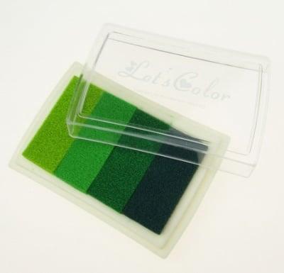 Тампон с пигментно мастило 6x3.8 см - 4 цвята зелена гама
