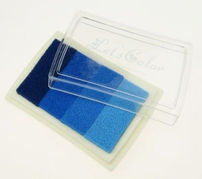 Тампон с пигментно мастило 6x3.8 см - 4 цвята синя гама
