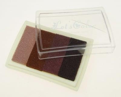 Тампон с пигментно мастило 6x3.8 см - 4 цвята кафява гама