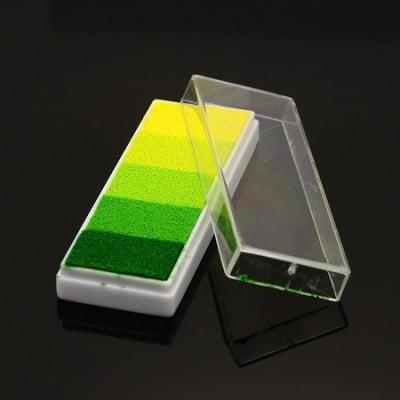 Тампон с пигментно мастило 7.6x2.8x1.4 см -5 цвята жълто-зелена гама