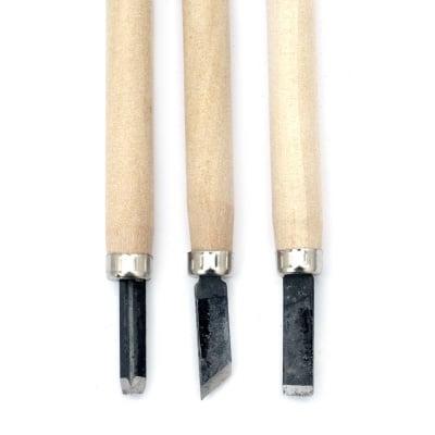 Комплект резци за дърворезба с дървена дръжка 3 броя
