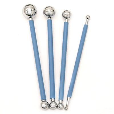 Комплект 4 броя инструменти за моделиране метално топче 4 мм, 6 мм, 8 мм, 9 мм, 11 мм, 12.5 мм, 16 мм и 19 мм