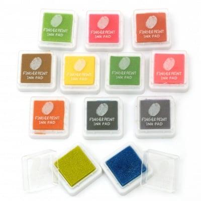 Комплект от мини пигментни тампони 2.5x2.5 см -12 цвята