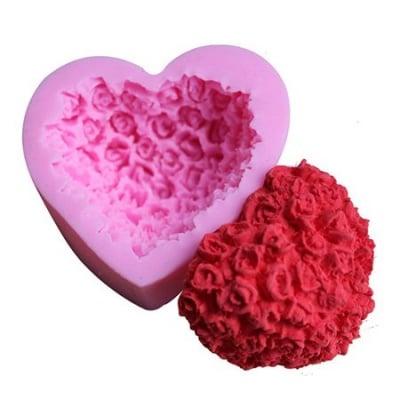 Силиконов молд /форма/ 68x60x30 мм сърце с рози