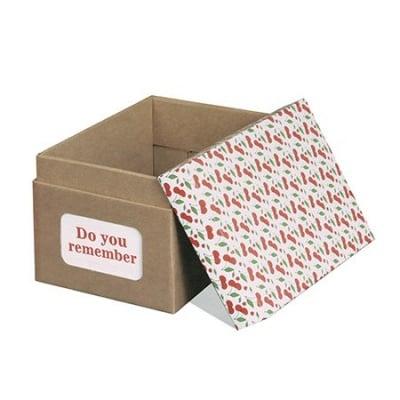 Комплект за направа на картонена кутия 21x14 см с цветен капак череши