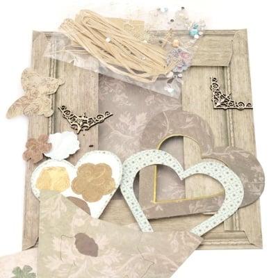 Комплект за направа и декорация на картонена рамка сърце за снимка 8.9x8.9 см