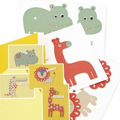 Комплект за направа и декорация на 4 броя картички 12x17.2 см животни