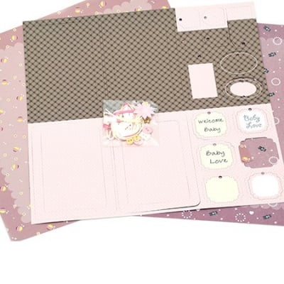Скрапбук комплект за декорация Baby Girl -2 броя дизайнерска хартия 12x12 inch, 1 брой щанцовани форми, аксесоари