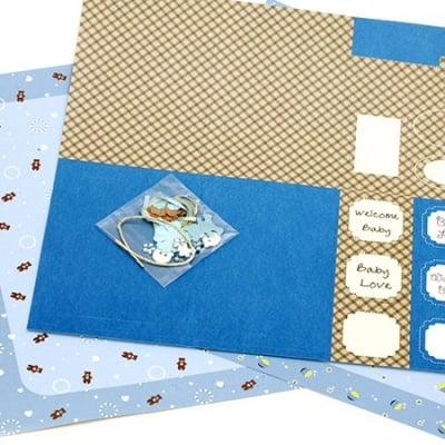 Скрапбук комплект за декорация Baby Boy -2 броя дизайнерска хартия 12x12 inch, 1 брой щанцовани форми, аксесоари