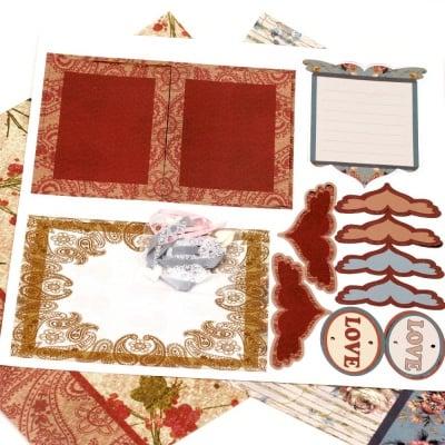 Скрапбук комплект за декорация Love -2 броя дизайнерска хартия 12x12 inch, 1 брой щанцовани форми, аксесоари