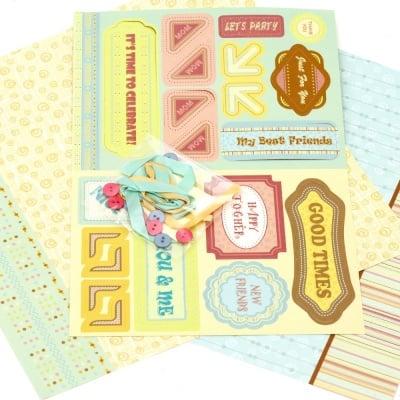 Скрапбук комплект за декорация Good Times -2 броя дизайнерска хартия 12x12 inch, 1 брой щанцовани форми, аксесоари