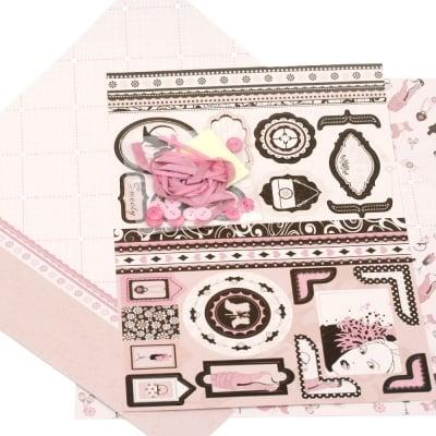 Скрапбук комплект за декорация Mode -2 броя дизайнерска хартия 12x12 inch, 1 брой щанцовани форми, аксесоари