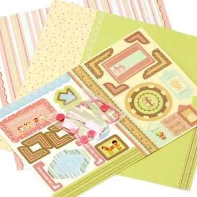 Скрапбук комплект за декорация Birthday -2 броя дизайнерска хартия 12x12 inch, 1 брой щанцовани форми, аксесоари