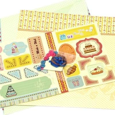 Скрапбук комплект за декорация My Wish -2 броя дизайнерска хартия 12x12 inch, 1 брой щанцовани форми, аксесоари