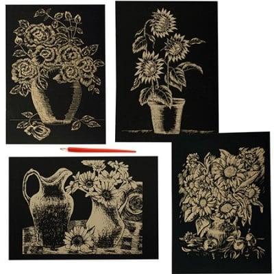 Скреч картина мотив цветя злато и инстpумент зa издpaсквaне - комплект 4бр. А4