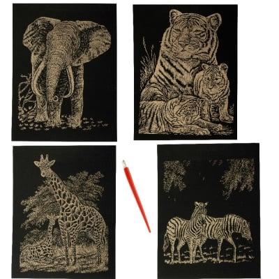 Скреч картина мотив животни злато и инстpумент зa издpaсквaне - комплект 4 броя А4
