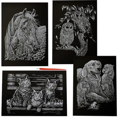 Скреч картина мотив животни сребро и инстpумент зa издpaсквaне - комплект 4бр. А4
