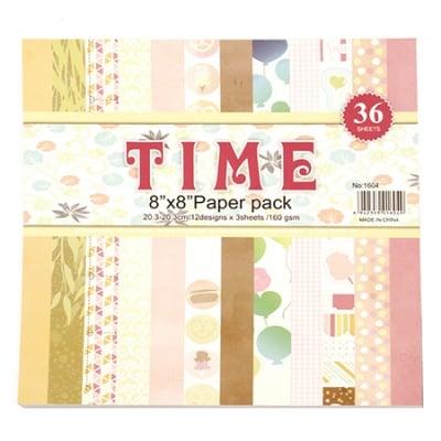 Дизайнерска хартия за скрапбукинг 8 inch (20.3x20.3 см) 12 дизайна x 3 листа