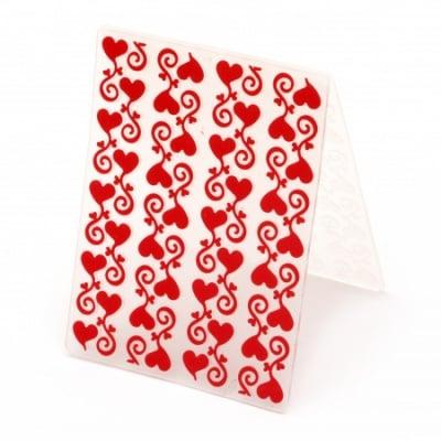 Папка за релеф 7.5x10 см -сърца с орнамент