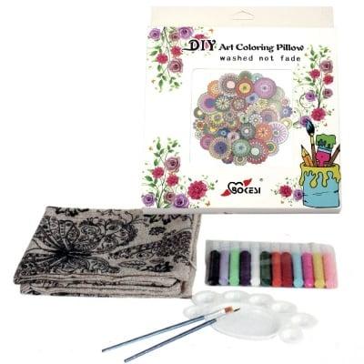 Комплект калъф за възглавница за оцветяване антистрес 45x45 см с четки 2 бр, палитра 1 бр, боички 12 цвята - мандали