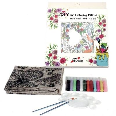 Комплект калъф за възглавница за оцветяване антистрес 45x45 см с четки 2 бр, палитра 1 бр, боички 12 цвята - птици