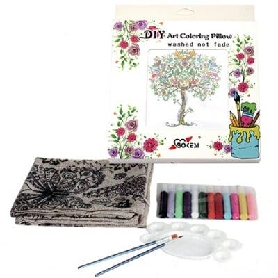 Комплект калъф за възглавница за оцветяване антистрес 45x45 см с четки 2 бр, палитра 1 бр, боички 12 цвята - дърво