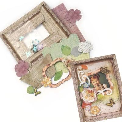 Комплект за направа и декорация на картонена рамка за снимка Винтидж 15x17.7 см