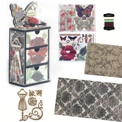 Комплект за направа и декорация на мини шкаф 21.8x9.5x6.2 см