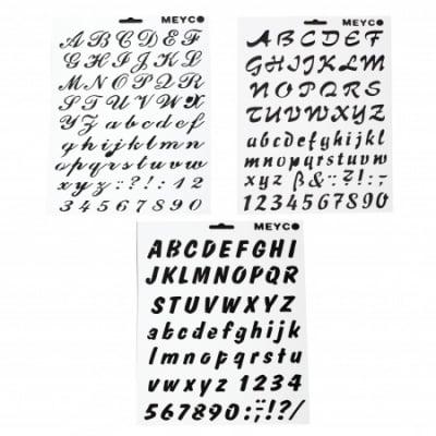 Шаблон за изрязване и рисуване 21x31 мм букви и цифри ръкописни