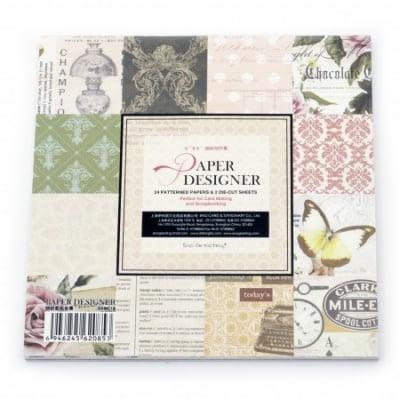 Комплект дизайнерска хартия за скрапбукинг 6 inch (15.2x15.2 см) 12 дизайна x 2 листа и 2 щанцовани листа