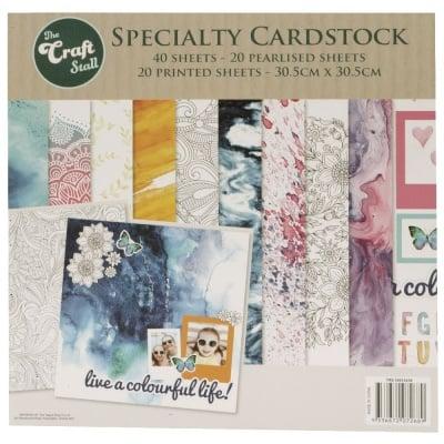 Дизайнерска хартия за скрапбукинг 12 inch (30.5x30.5 см) 10 дизайна x 2 листа и 10 дизайна x 2 листа перлени live a colourful life