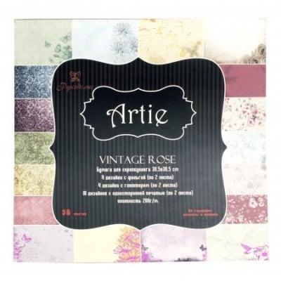 Дизайнерска хартия за скрапбукинг 12 inch (30.5x30.5 см) 10 дизайна x 2 листа, 4 дизайна x2 брокатени листа, 4 дизайна x2 фолирани листа Vintage rose