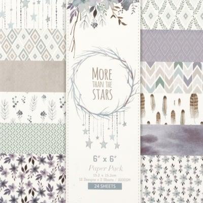 Дизайнерска хартия 160 гр за скрапбукинг, арт и крафт 6 inch (15.2x15.2 см) 12 дизайна x 2 листа More than the stars