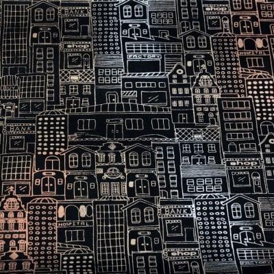 Непалска хартия 60 гр ръчна 49x75 см Printed house - черна със сребро, злато, мед