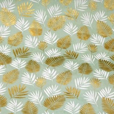 Непалска хартия 60 гр ръчна 51x69 см Printed Leaf Coconut - светло синя със сребро и бяло