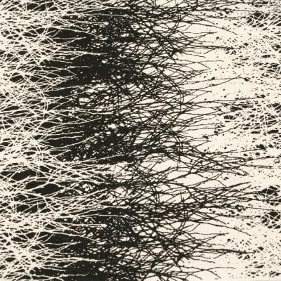 Непалска хартия 60 гр ръчна 51x69 см Printed Forest - натурална с черно