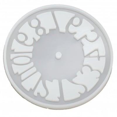 Силиконов молд /форма/ 155x155x10 мм голям циферблат за часовник с арабски цифри