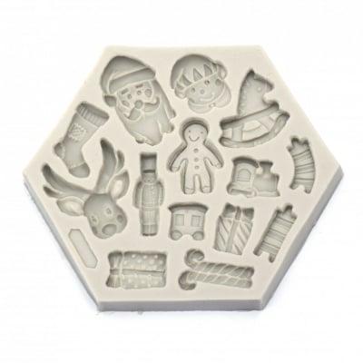 Силиконов молд /форма/ 135x113x15 мм 3D Коледни фигурки